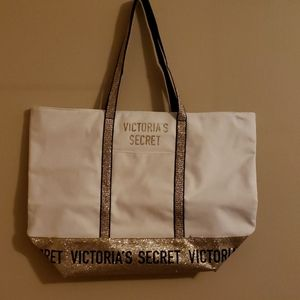 NWOT Victoria's Secret Ivory and Gold Glitter Tote